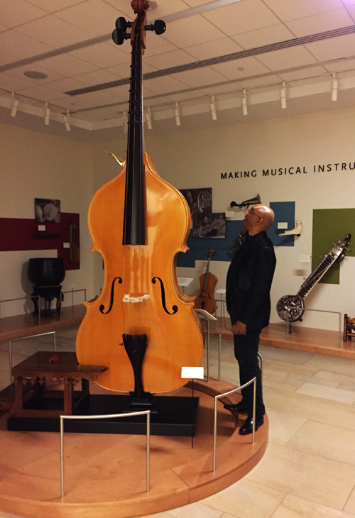 My favorite thing at the museum was this giant upright bass. Oh my! That's Billy standing next to it to give the whole thing some perspective. Big bottom!