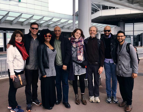 Band pic. the end of the run at the Tokyo Airport. Left to right, Lorraine Weinstein (Billy's media person), Miles Weinstein (Billy's manager), Alicia Olatuja (vocals), Billy Childs (piano), Becca Stevens (vocals), Peter, Donald Barrett (drums), and Ben Sheppard (bass).