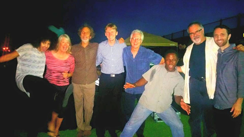 Jazz heads embracing rock with (left to right) Rebecca Jade, Helen Kupka (concert promoter), Peter, Justin Grinnell, Tripp Sprague, Leonard Patton, Duncan Moore, and Danny Green. photo by Kevin Cooper