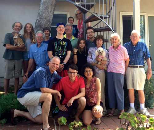 The relatives all lining up and taking it the magic feeling of summertime in Cali. Live is fantastic! Back left to right: Peter holding Rocky, Kylie, Tripp, Stefanie, Frankie, Drew, Ian, Janet, Kate, Sam, Carol holding Cici, Jackie, and Sandy. Front: Chuck, Joe, and Judith. photo by Jada