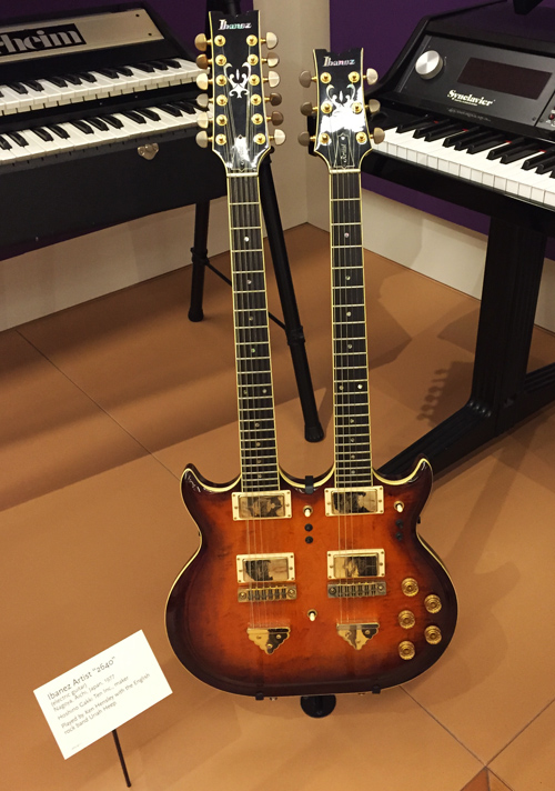 After our concert they gave us a private tour of the museum and you know I have an interest in double neck guitars. Check out this Ibanez beauty!
