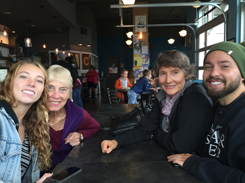 Pacific Northwest coffee house tour with (left to right) Kylie, Anne, Stefanie, and nephew Eric.