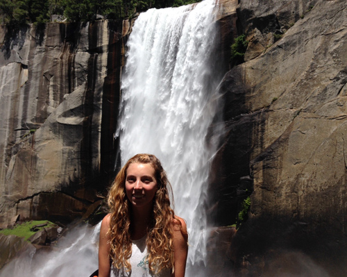 Kylie and the waterfall!