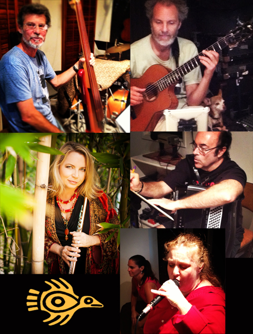 Rehearsing the Latin grooves with (left to right clockwise) Gunnar, Peter, Lou, Coral and Monette, and Beth.