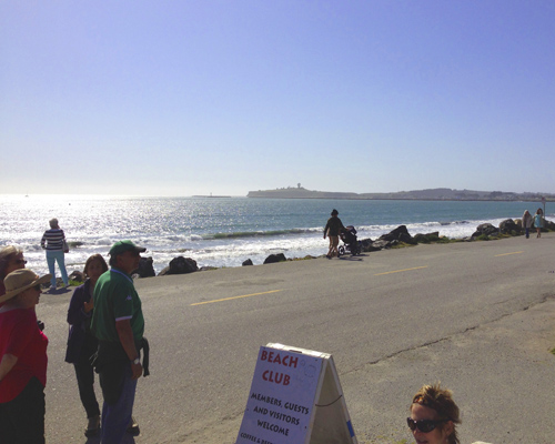 The view from the gig out to Mavericks. It's located at the end of the point in the distance.