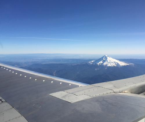 Arriving in Portland and it's a super clear sunny Mt. Hood to great us!