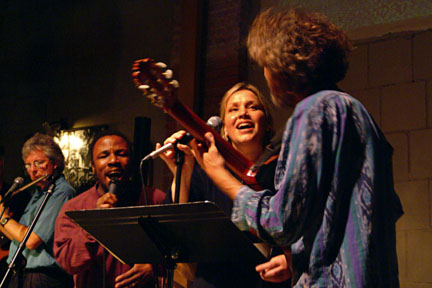 A few years back singing with Amber Whitlock and Leonard. photo by Mark Keller