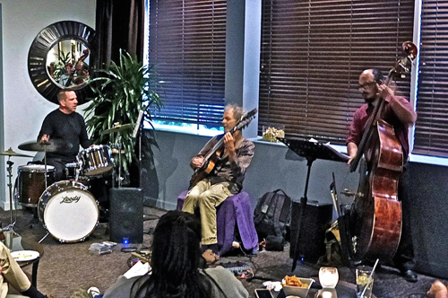 Handlery trio jazz with Tim McMahon on drums, Peter on guitar, and Harley Magsino on bass. photo by Barbara Wise
