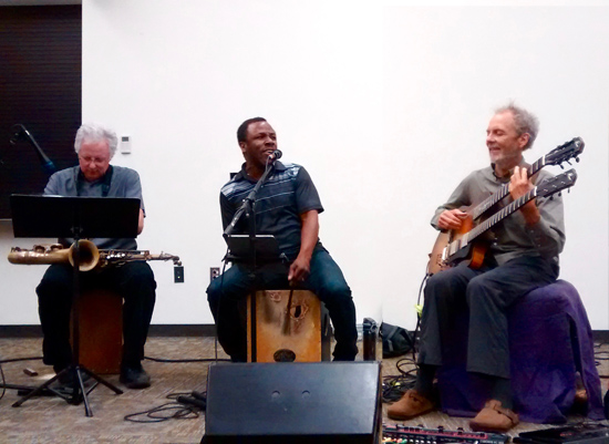 Shapeshifting at the Fallbrook Library with Tripp, Leonard and Peter. photo by Steve Grant