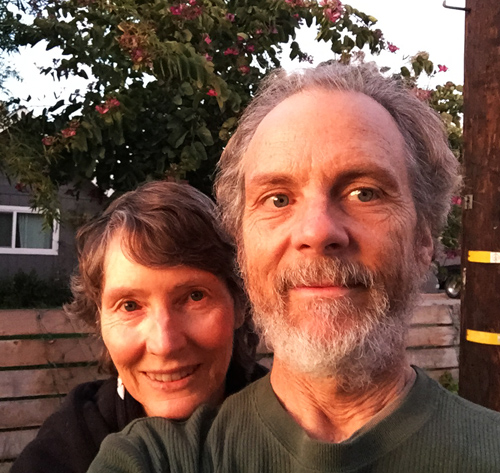 Stef and I taking a walk with the warm light of the Encinitas sunset.