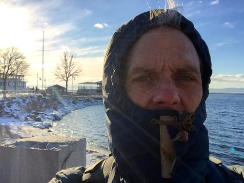 I had and hour off before the Vermont hit and I walked a bit in Burlington to the waters edge. Let me tell you, it was COLD!