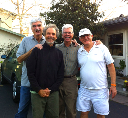 Rehearsing at SpragueLand with Road Work Ahead. Left to right, Jim Plank, Peter, Bob, and Bill Mays.