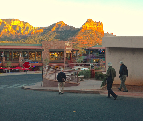 The Road Workers hunt down dinner while the red rocks illuminate in the Arizona sunset. Left to right, Bob Magnusson, Jim Plank, and Bill Mays.