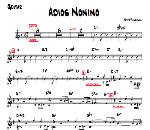 "Keeping Wayne's mantra's front and center, after writing out Piazzolla's ""Adios Nonino"" I'm trying to forget it!"