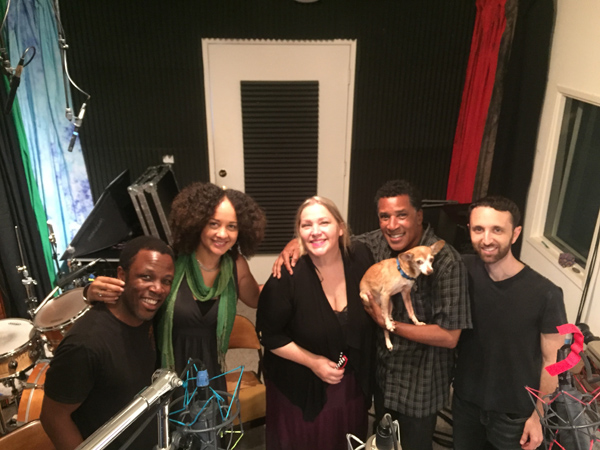 Singing for their super at SpragueLand! (left to right) Leonard Patton, Rebecca Jade, Amber Whitlock, Leonard Tucker (with Rocky who barked beautifully), and pianist Danny Green.