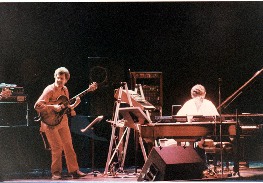"""Chick's gig at Disneyland, an """"E ticket"""" to the hilt! Me on the left, Chick on the right. He's surrounded by an aura of light and an arsenal of digital keyboards. June, 1984."""