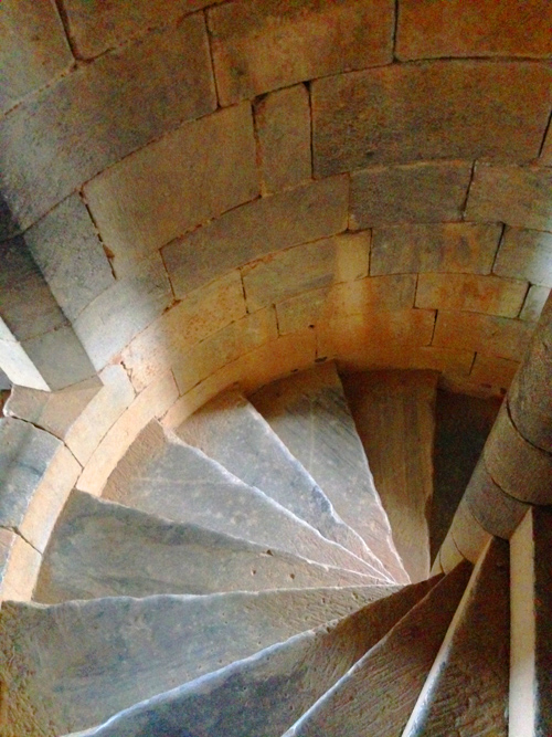 Also in Beja I discovered a castle and climbed to the top. Here's the view down the spiraling stairs.