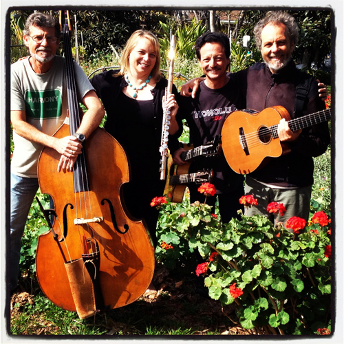 Beth and the band in the garden at SpragueLand! Left to right, Gunnar, Beth, Fred, and Peter.  photo by Stefanie Sprague