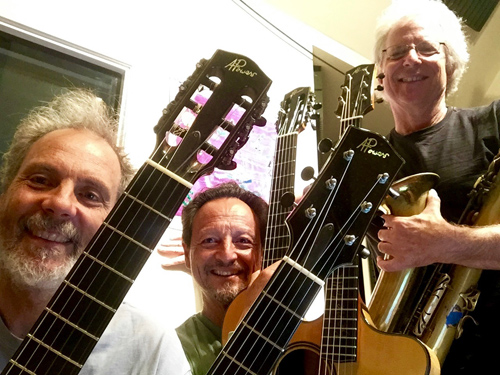 A collage of guitar necks! Every which way! Blurring the Edges with Peter, Fred and Tripp.