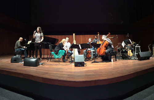 The Chicago gig with Billy Childs on the left, Becca Stevens and the string quartet.