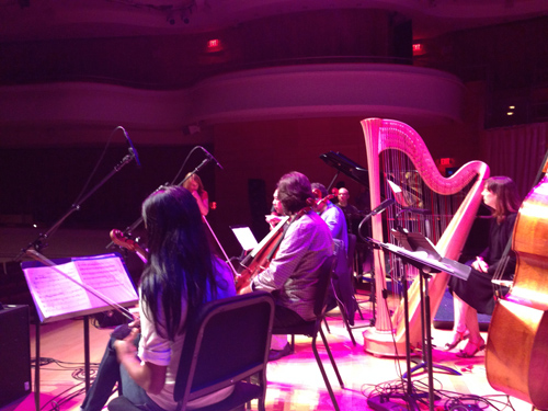 Sound checking with Billy Childs and the Lyris String Quartet.