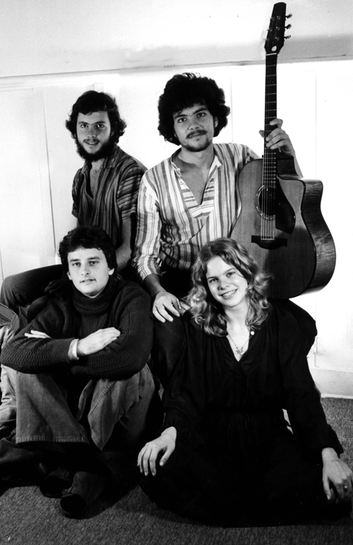 Promo photo shot in our Via Grimaldi hippy house back in the late '70's. Upper left, Tripp and Peter, lower left, John Leftwich and Kevyn Lettau.