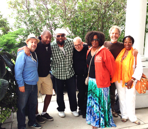 Band photo as we're readying to leave Mack Island. From left to right, Peter Martin, Branford Marsalis (who was playing the day we left), Terryon Gully, Paul Booth (sound man, tour manager), Dianne Reeves, Peter, and Anna Redmond (Dianne's personal assistant).
