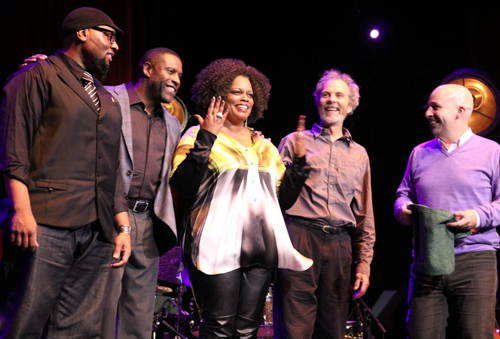 Taking a bow in NYC! Left to right, Terryon Gulley, Reginal Veal, Dianne Reeves, Peter, Peter Martin. photo by  Nadja von Massow