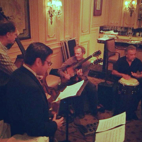 Jamming in tight quarters with Rob, Gilbert, Peter and Tommy Aros.