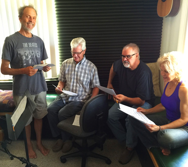 Jennifer Lee recording session, looking over the sheet music with (right to left) Jennifer, Duncan, Bob Magnusson, and me.