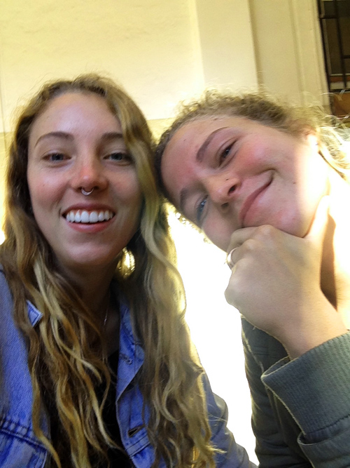 Kylie on the left with her friend Lizzy in Valpariso, Chile.