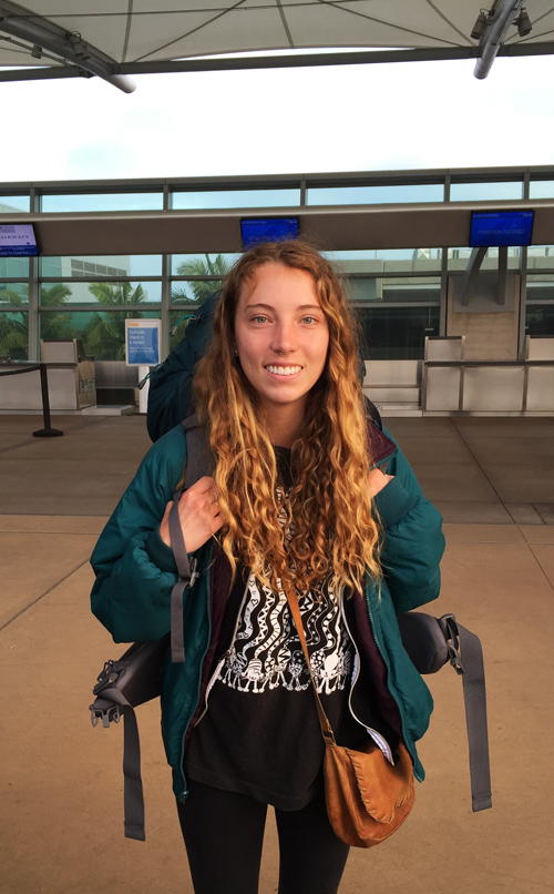 She's leaving home for Chile. Kylie at the airport off to wild adventures!