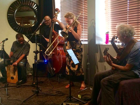 The Lizzi Fest last week at the Handlery with Leonard on the left, Harley on bass, Lizzi on trombone, and me. photo by Liz Abbot