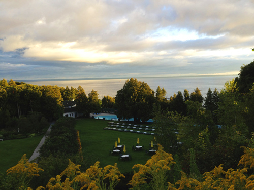 The view from the hotel porch looking out over Lake Michigan.