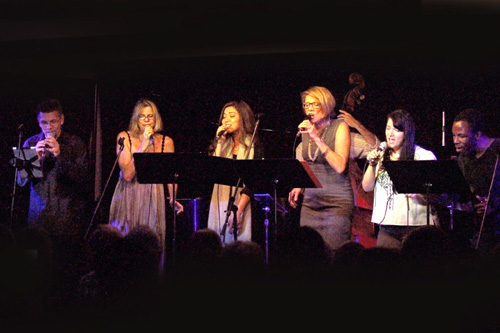Wall of vocalists at the MOMM concert. photo by Barbara Rix