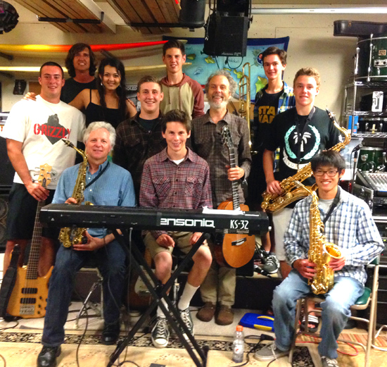 Rehearsing with the youngsters getting ready to play Cream for the masses. From left to right, top row; Seth