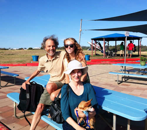 A family outing at the Torrey Pines Glider Port. What a cool scene with Peter on the left, Kylie, Stef and even little Rocky boy was there to take it all in.