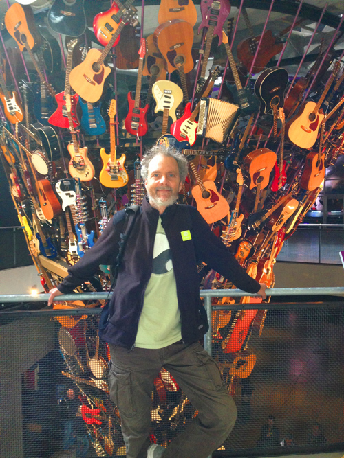 Wall 'O Guitars at EMP! Great looking sculpture that through special mechanics can actually play the instruments.
