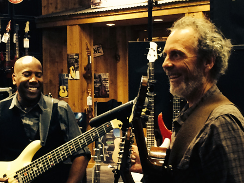 Nathan East and me playing and hanging out at the GC clinic.