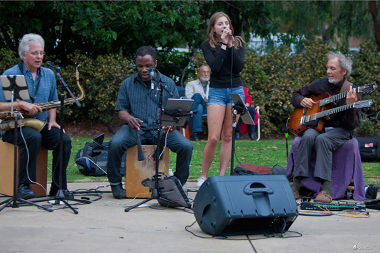 Last night in Pt. Loma launching sound into the summer eve with Tripp, Leonard, Kate and I. photo by Dwight Harrington