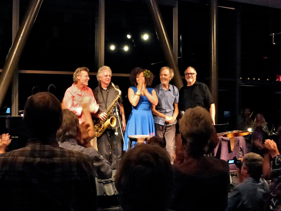 Live in Encinitas with (left to right) Gunnar Biggs, Tripp Sprague, Rebecca Jade, Peter, and Duncan Moore.