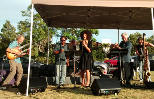 """Here's a pic from the same event last year. Jazz and rock in Rancho! Complete with the """"magic hour of light"""" it's Peter, Leonard, Duncan, Rebecca, Tripp and Gunnar throwing down the muse. photo by Steve Grant"""