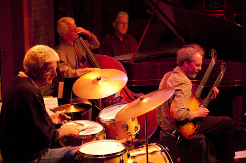 Road Work Ahead with Jim Plank on the drums, Bob Magnusson on the bass, Bill Mays on piano, and Peter Sprague on guitar. photo by Dwight Harrington