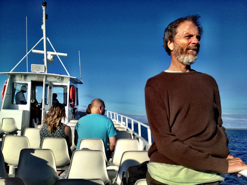 Sailor Pete on the boat ride over to Mackinaw Island.