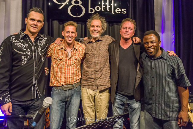 The Six String Society at 98 Bottles with (left to right) Jonny Bowler, Buzz Campbell, Peter, Tim Walsh, and Leonard Patton. photo by Ken Seals