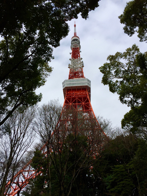 The Tokyo Tower up close. One day I got up early and decided to hoof it to the Tokyo Tower from my hotel. It took a couple of hours but it was neat adventure.
